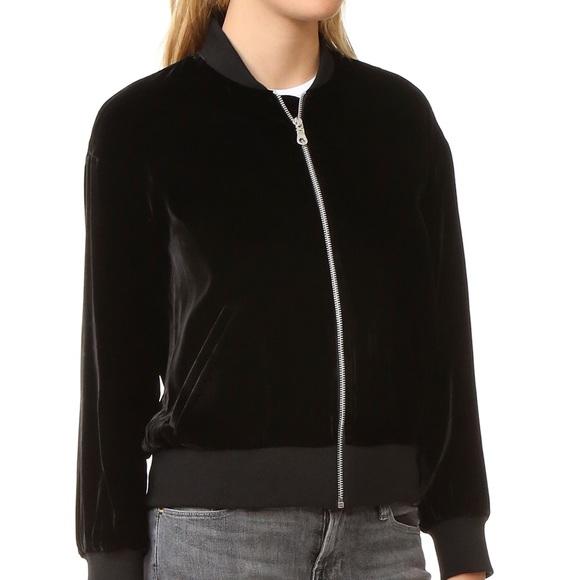 04feeff23 La hearts black velvet bomber jacket NWT